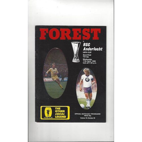 1984 Nottingham Forest v Anderlecht UEFA Cup Semi Final Football Programme