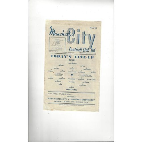 1957/58 Manchester City Blues v Maroons Trial Match Football Programme