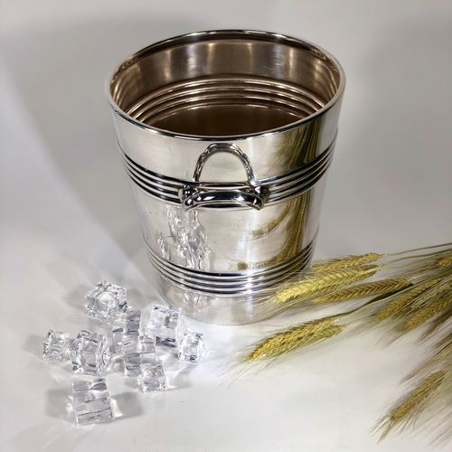 Art Deco English silver plated champagne wine cooler