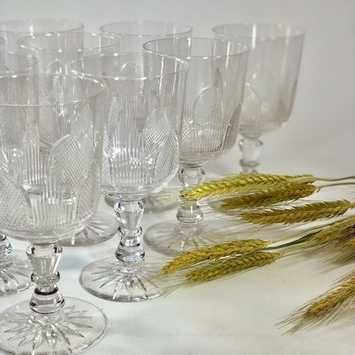 10 early 20th Century Baccarat crystal wine glasses