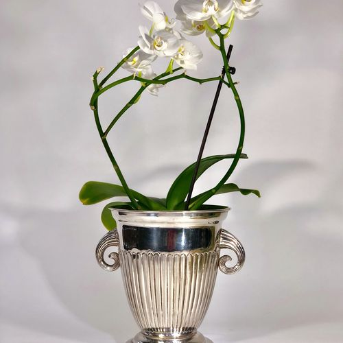 French silver plated champagne wine cooler cache pot