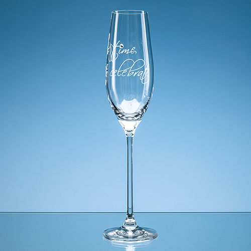 "210ml ""It's time to celebrate"" Diamante Champagne Flute"