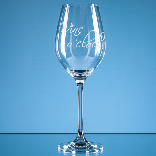 "360ml ""Wine o'clock"" Diamante Wine Glass"