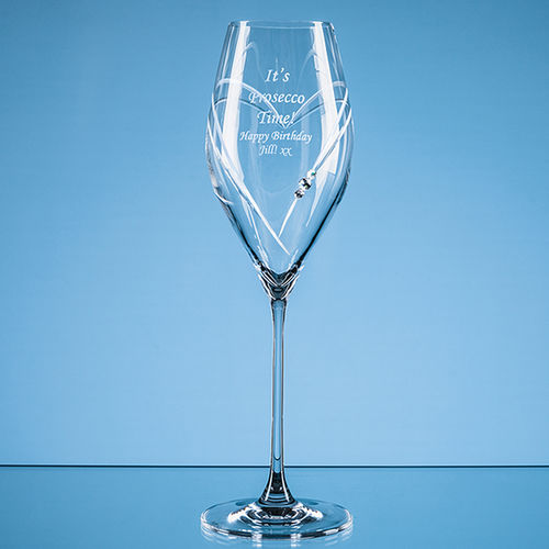 "320ml ""Just For You"" Diamante Prosecco Glass with Heart Shaped Cutting"
