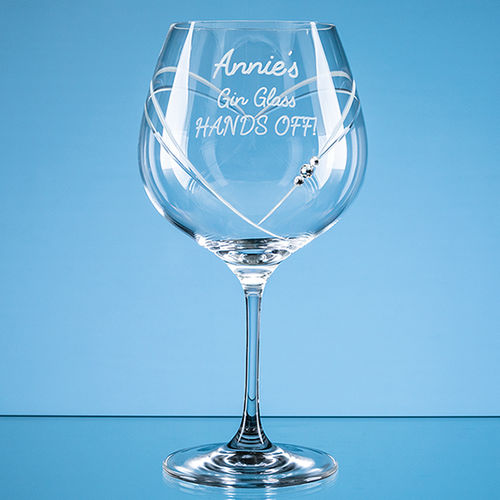 "610ml ""Just For You"" Diamante Gin Glass with Heart Shaped Cutting"