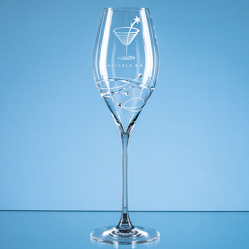 "320ml ""Just For You"" Diamante Prosecco Glass with Spiral Design Cutting"