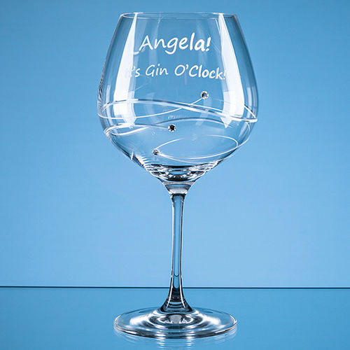 "610ml  ""Just For You"" Diamante Gin Glass with Spiral Design Cutting"