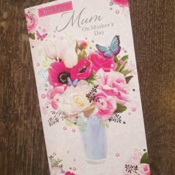 Mum Flowers & Butterflies Mother's Day Card