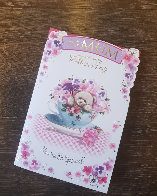 Mum Teddy in Cup Mother's Day Card