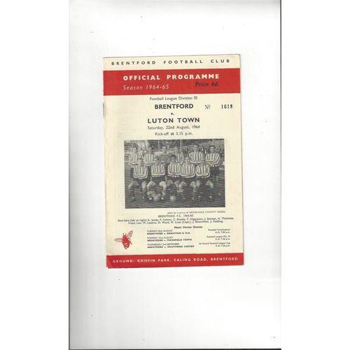 1964/65 Brentford v Luton Town Football Programme