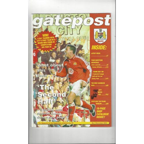 Bristol City Official Football Supporters Magazine No 9 Nov 2000
