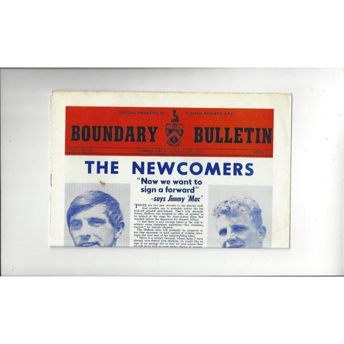 Oldham Athletic Boundary Bulletin Summer Issue Vol 1 No 27 1967