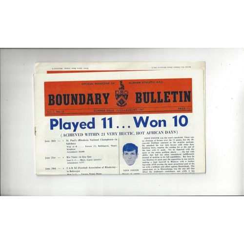 Oldham Athletic Boundary Bulletin Summer Issue Vol 1 No 28 1967