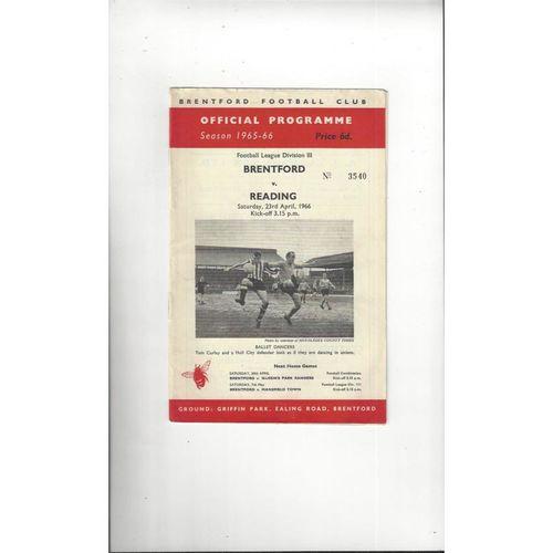 1965/66 Brentford v Reading Football Programme