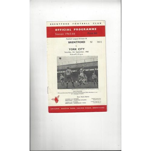 1965/66 Brentford v York City Football Programme