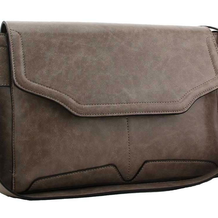 Queena flap over shoulder handbag grey