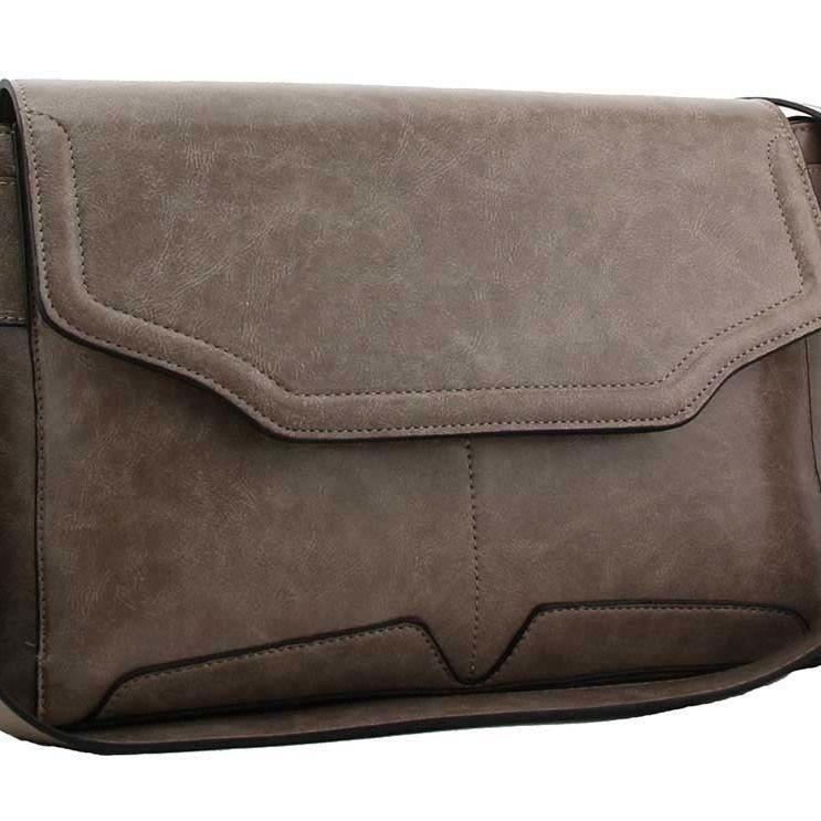 Queena flap over shoulder handbag grey
