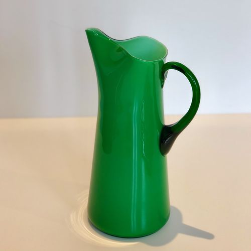 Mid 20th Century green opaque glass jug