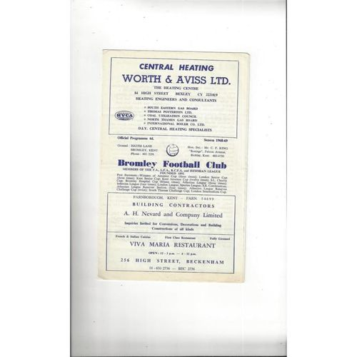 1968/69 Bromley v Barking Football Programme