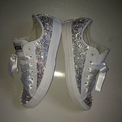 96481df3d9e0 Swarovski Crystal Sparkly Bling Converse Trainers (Adults - completely  encrusted)