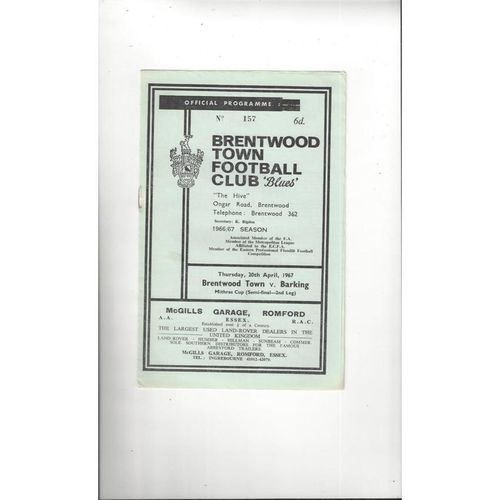 1966/67 Brentwood Town v Barking Mithras Cup Semi Final Football Programme