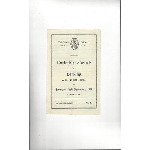 1961/62 Corinthian Casuals v Barking Football Programme