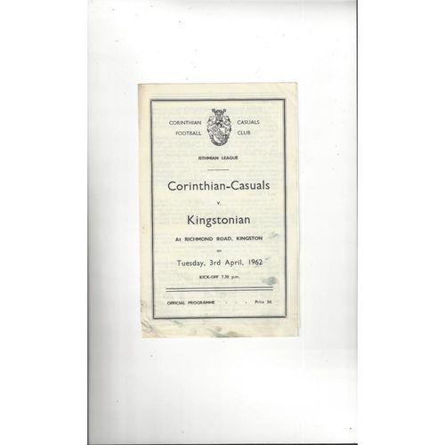 1961/62 Corinthian Casuals v Kingstonian Football Programme