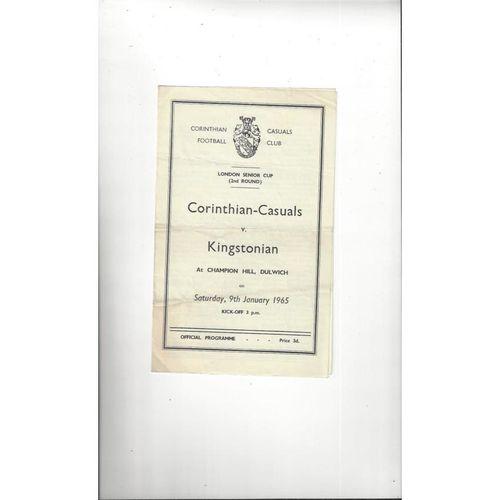 1964/65 Corinthian Casuals v Kingstonian London Senior Cup Football Programme