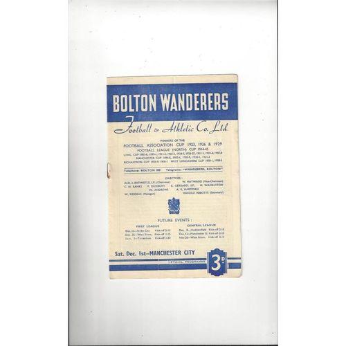 1951/52 Bolton Wanderers v Manchester City Football Programme