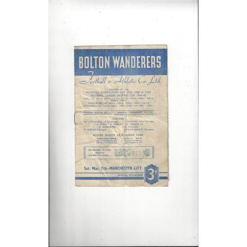1952/53 Bolton Wanderers v Manchester City Football Programme