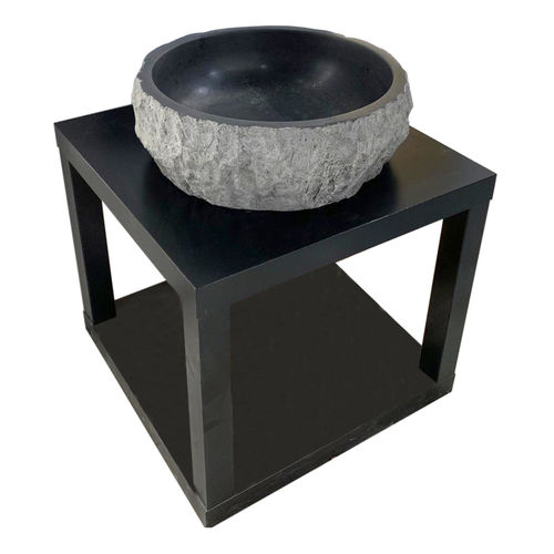 Black Bluestone Marble Sink - Round