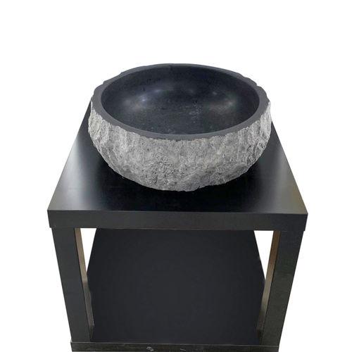Black Bluestone Marble Sink - Round