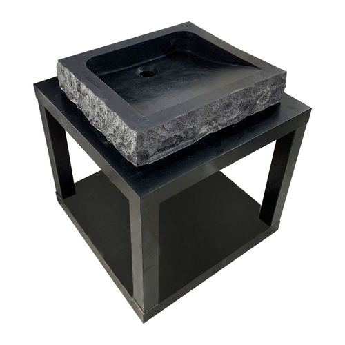 Black Bluestone Marble Sink - Square