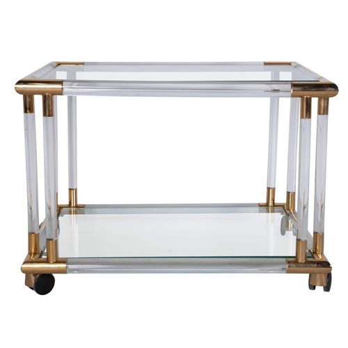 Smart Lucite, gilt and glass cocktail trolley side table 1970s