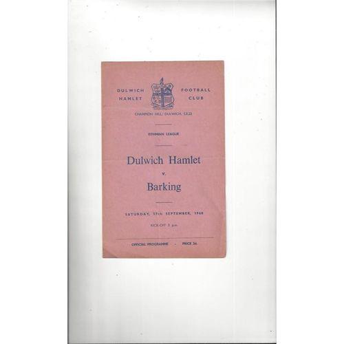 1960/61 Dulwich Hamlet v Barking Football Programme
