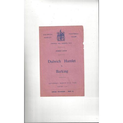 1961/62 Dulwich Hamlet v Barking Football Programme