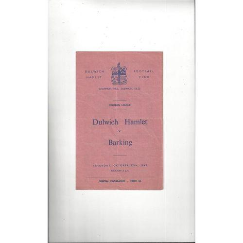 1962/63 Dulwich Hamlet v Barking Football Programme