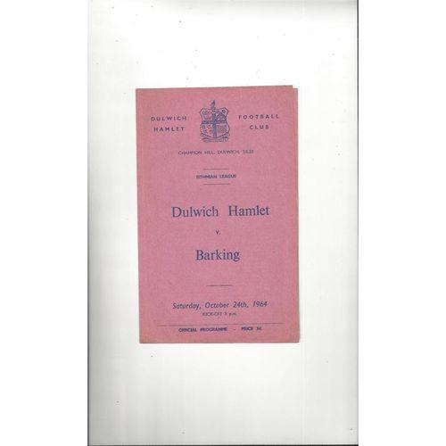 1964/65 Dulwich Hamlet v Barking Football Programme