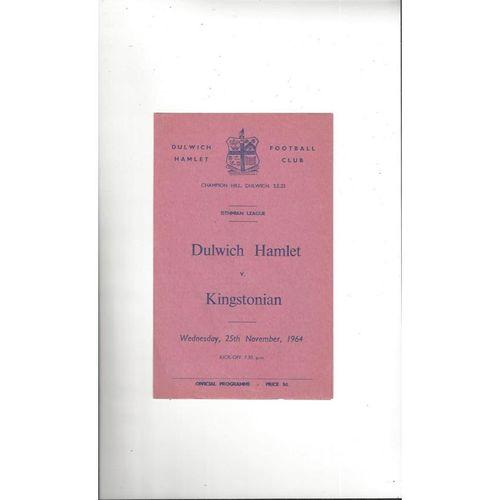 1964/65 Dulwich Hamlet v Kingstonian Football Programme