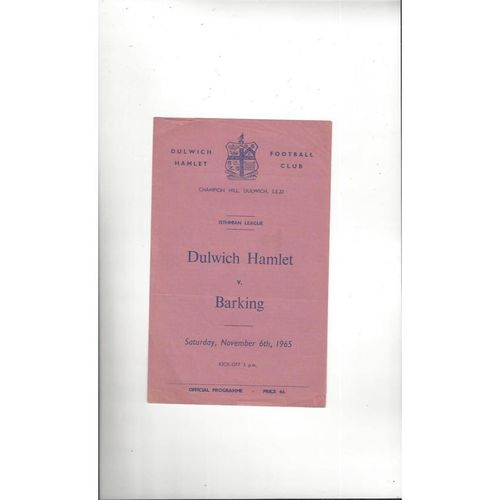1965/66 Dulwich Hamlet v Barking Football Programme