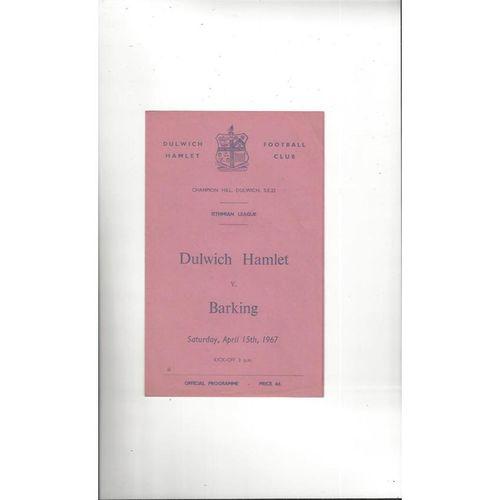 1966/67 Dulwich Hamlet v Barking Football Programme