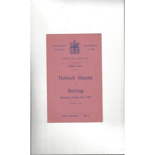 1967/68 Dulwich Hamlet v Barking Football Programme