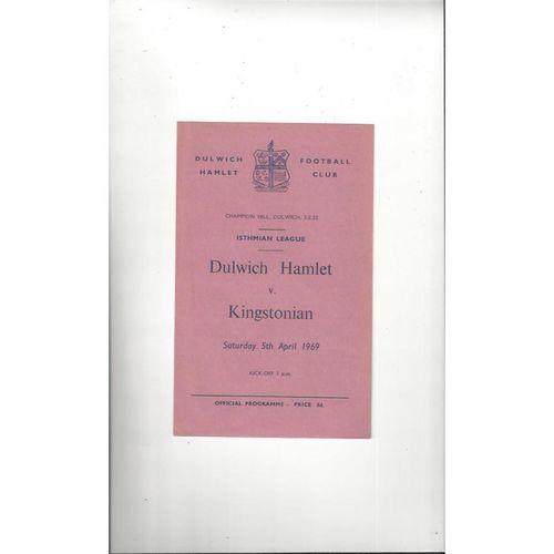 1968/69 Dulwich Hamlet v Kingstonian Football Programme