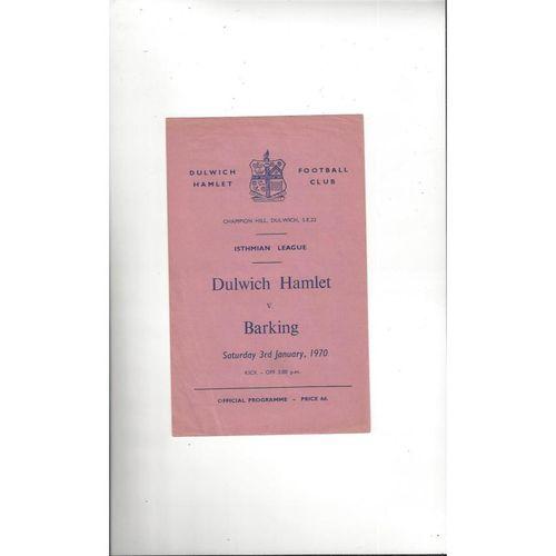 1969/70 Dulwich Hamlet v Barking Football Programme
