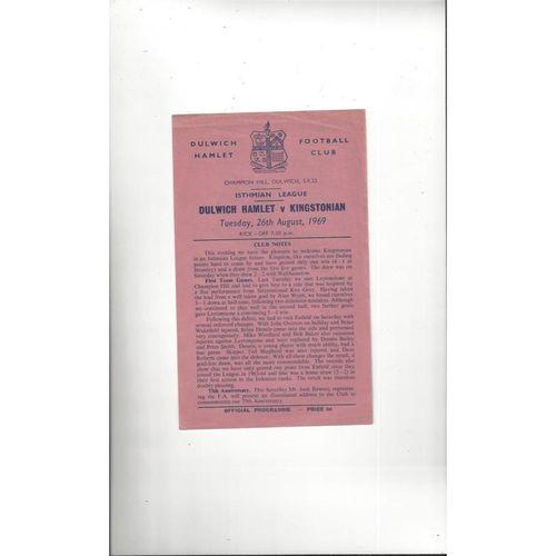 1969/70 Dulwich Hamlet v Kingstonian Football Programme