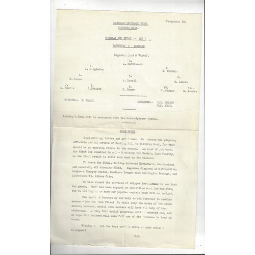 1965/66 Dagenham v Barking Mithras Cup Final Football Programme
