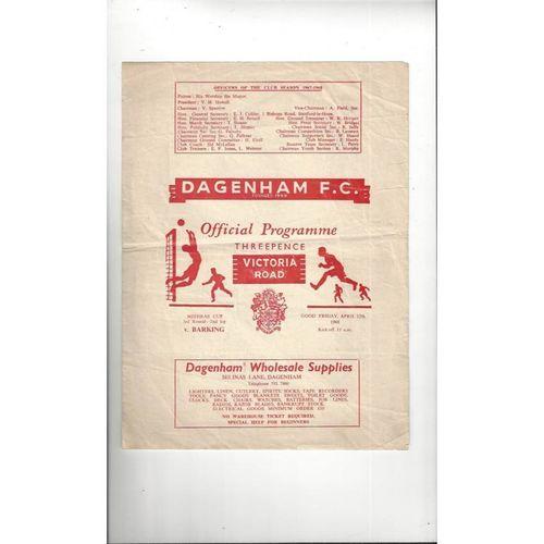 1967/68 Dagenham v Barking Mithras Cup Football Programme