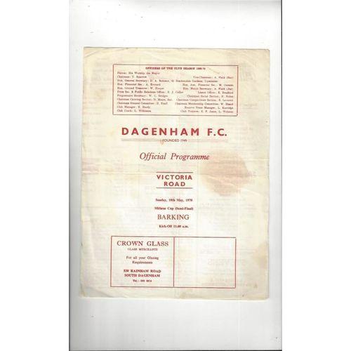 1969/70 Dagenham v Barking Mithras Cup Semi Final Football Programme