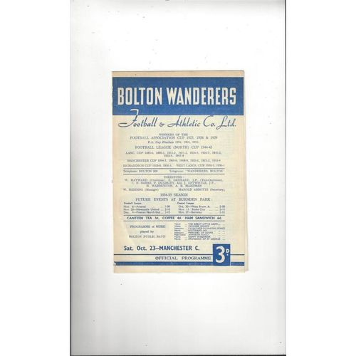 1954/55 Bolton Wanderers v Manchester City Football Programme