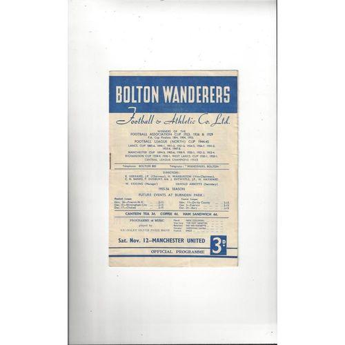1955/56 Bolton Wanderers v Manchester United Football Programme